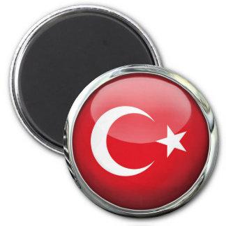 Turkey Flag Glass Ball 2 Inch Round Magnet