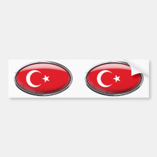 Turkey Flag in Glass Oval Bumper Sticker