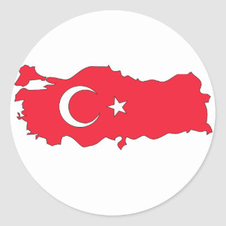 Turkey flag map round stickers