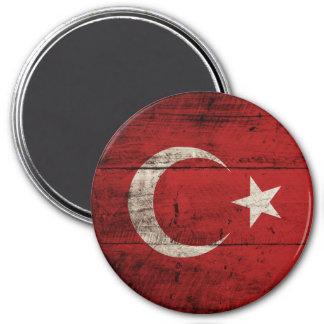 Turkey Flag on Old Wood Grain Magnet