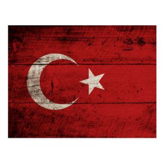 Turkey Flag on Old Wood Grain Postcards