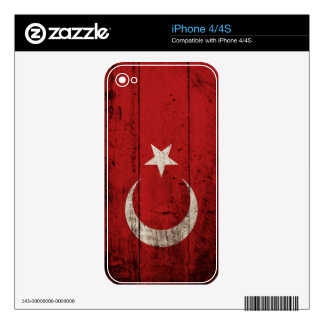 Turkey Flag on Old Wood Grain Skins For iPhone 4