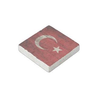 Turkey Flag on Old Wood Grain Stone Magnet