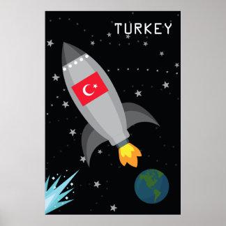 Turkey Flag Rocket Ship Poster