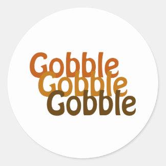 Turkey Gobble Classic Round Sticker