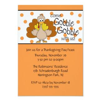 Turkey Gobble, Gobble Thanksgiving Dinner Party 5x7 Paper Invitation Card