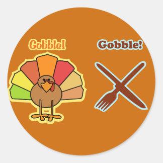 Turkey Gobble Knife Fork Thanksgiving Design Classic Round Sticker
