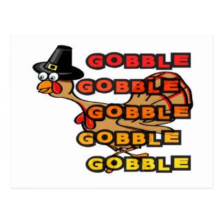 Turkey gobble thanksgiving dinner stuffing postcard