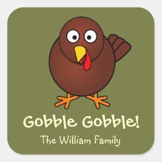 Turkey gobble Thanksgiving green brown fun cute Square Sticker