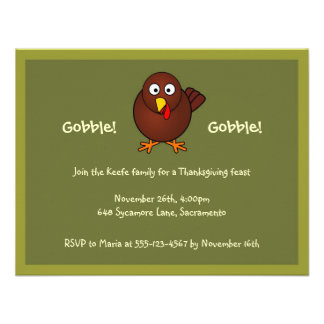 Turkey gobble Thanksgiving green brown invitation