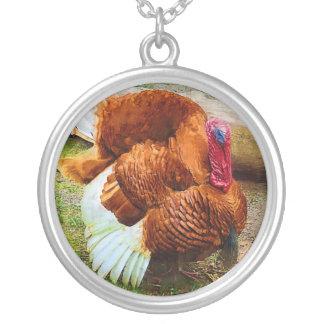 Turkey Gobbler Round Pendant Necklace