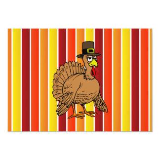 Turkey Gobbler Pilgrim Cartoon Thanksgiving Dinner Card