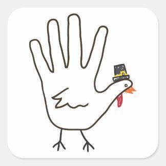 turkey hand square sticker