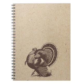 turkey head ink stamped journal spiral notebooks