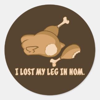Turkey: I lost my leg in Nom Classic Round Sticker
