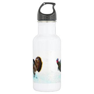 Turkey in Snow 4 18oz Water Bottle