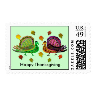 Turkey in the Fall Leaves Postage Stamps