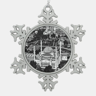 Turkey Istanbul blue mosque overview 1970 Snowflake Pewter Christmas Ornament
