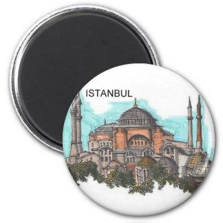 Turkey Istanbul Hagia Sophia (by St.K) 2 Inch Round Magnet
