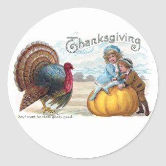 Turkey, Kids and Big Pumpkin Vintage Thanksgiving Classic Round Sticker