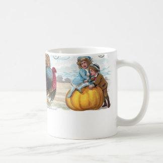 Turkey, Kids and Big Pumpkin Vintage Thanksgiving Coffee Mug