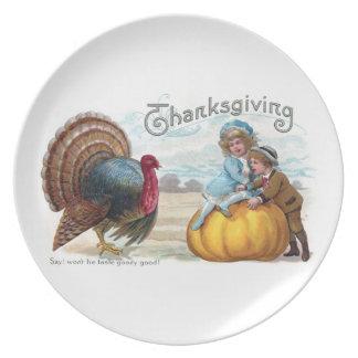 Turkey, Kids and Big Pumpkin Vintage Thanksgiving Dinner Plates
