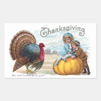 Turkey, Kids and Big Pumpkin Vintage Thanksgiving Rectangular Sticker