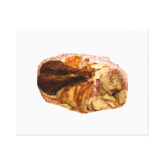 turkey leg and meat on red white platter canvas print