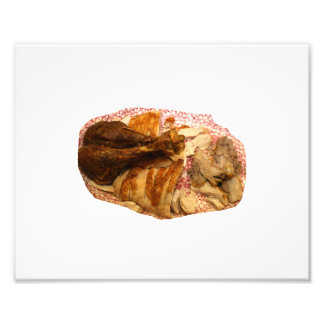turkey leg and meat on red white platter photo art
