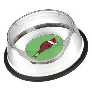 Turkey Leg wearing a Santa Hat Christmas holidays Bowl