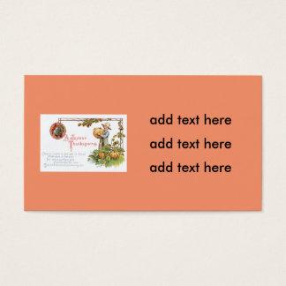 Turkey Little Boy Pumpkin Patch Business Card