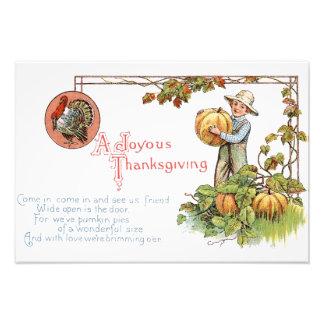 Turkey Little Boy Pumpkin Patch Photo Print
