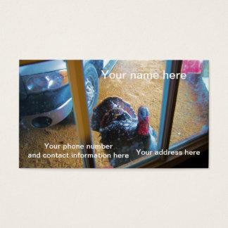 Turkey looking in door business card