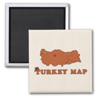Turkey Map 2 Inch Square Magnet