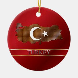 Turkey Map and Turkish Flag Metal Pixel Ceramic Ornament