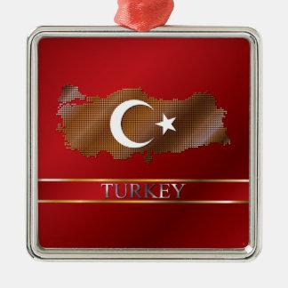 Turkey Map and Turkish Flag Metal Pixel Metal Ornament