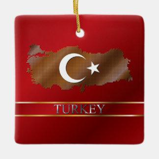 Turkey Map and Turkish Flag Metallic Gold Ceramic Ornament