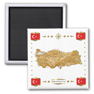 Turkey Map + Flags Magnet