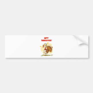 Turkey Mascot Cartoon Character Car Bumper Sticker