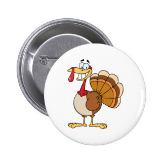 Turkey Mascot Cartoon Character Button