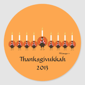 Turkey Menorah Thanksgivukkah Sticker