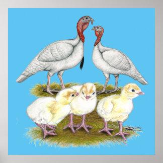 Turkey Mini White Family Poster