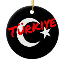 Turkey moon sickle and star ceramic ornament