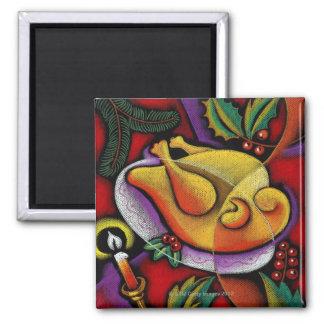 Turkey on platter 2 inch square magnet