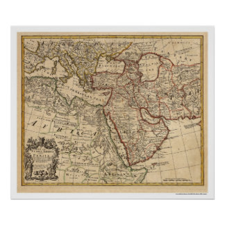 Turkey Persia Arabia Map - 1721 Poster
