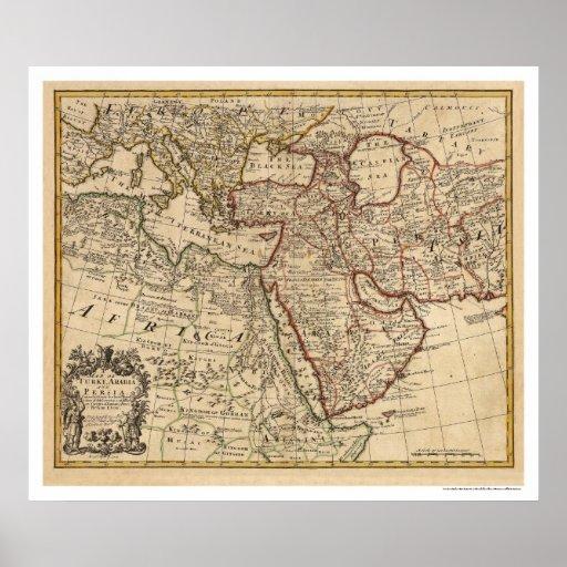 Turkey Persia Arabia Map - 1721 Posters