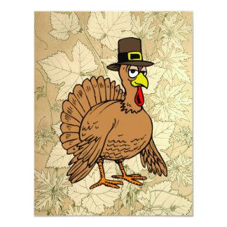 Turkey Pilgrim Autumn Leaves Thanksgiving Dinner Card