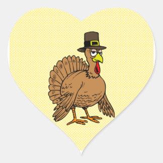 Turkey Pilgrim for Thanksgiving Heart Sticker