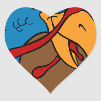Turkey Pilgrim Hat Cartoon Character Heart Sticker