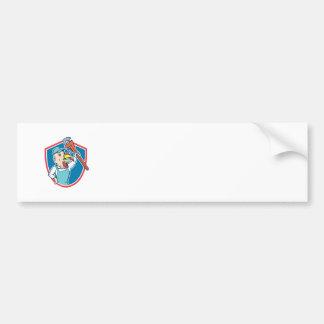 Turkey Plumber Monkey Wrench Shield Cartoon Bumper Sticker